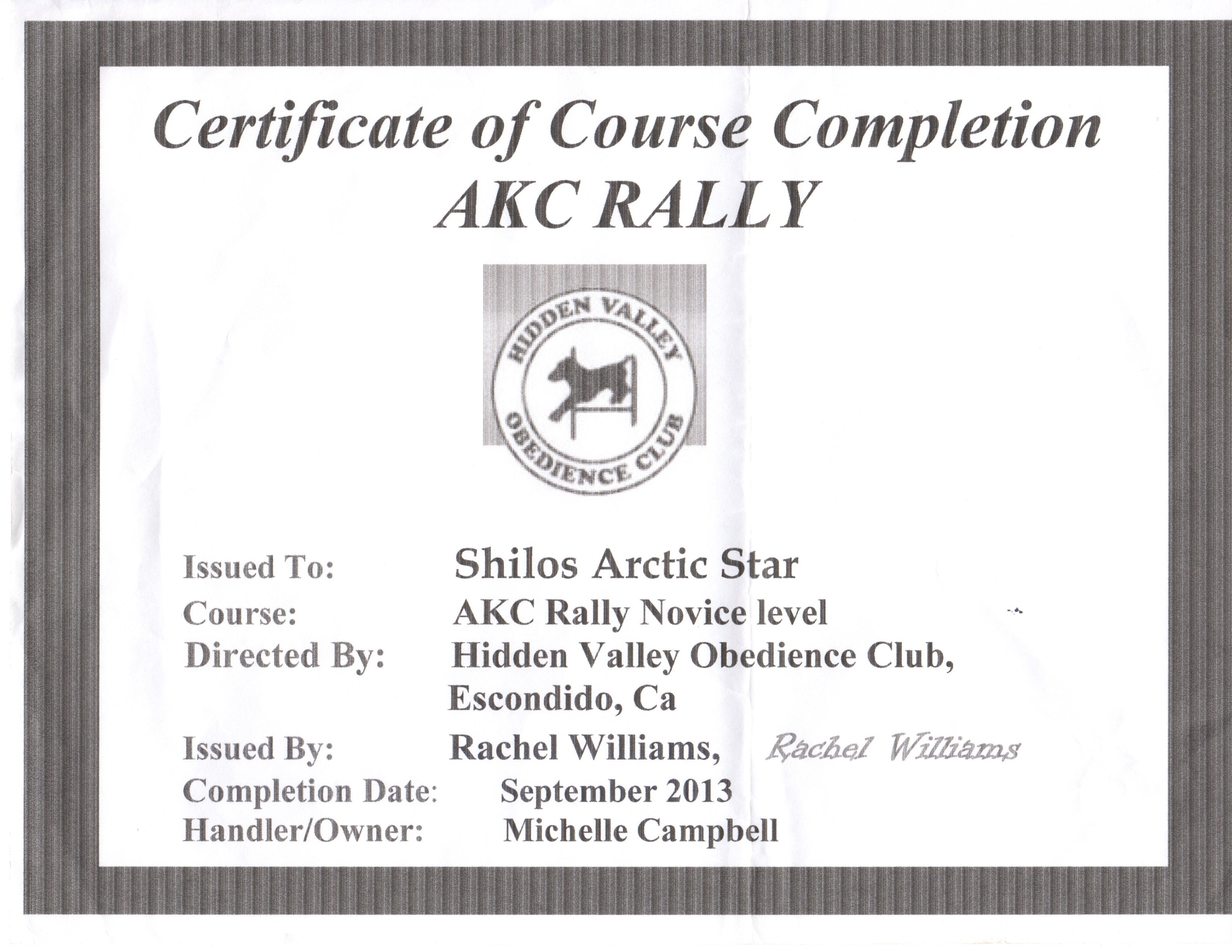 Pedigree and Certifications   Shilo's Arctic Star